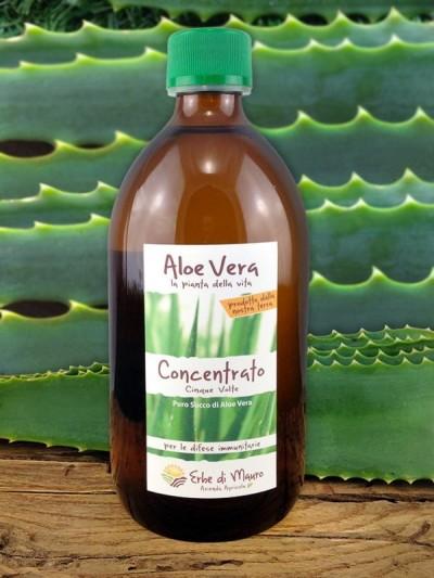 Succo Aloe Vera Concentrato 5x , senza Aloina, 500ml-1l