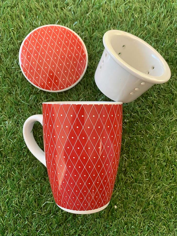 Herbal tea cup, with lid and earthenware filter 250 ml