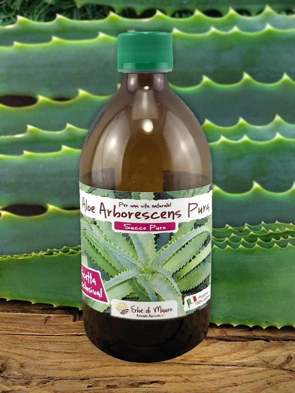 Succo Aloe Arborescens, Succo Puro filtrato 500ml-Puro succo di Aloe